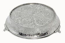 "GiftBay Wedding Cake Stand Tapered Round 16"" Silver Embossed For Heavy Cake Wt."