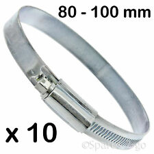 10 x Worm Drive Metal Hose Clamp Jubilee Steel Pipe Clip Medium Large 80 - 100mm