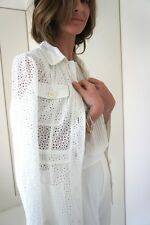 ZARA Broderie Anglaise Long Jacket with Pockets  Ecru Off White size S Uk 8 10