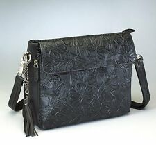 CONCEALED CARRY GUN TOTE'N MAMAS TOOLED LEATHER SHOULDER PURSE HANDBAG CCW BLACK