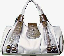 Genuine Cowhide Leather Ladies Shoulder Bag WHITE/BROWN  # 8