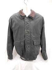Mens London Fog Leather Winter Coat Jacket Large Plaid Gray Lined Cotton L New