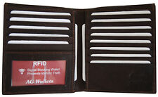 RFID Signal Blocking Cow Leather European Hipster Credit Card ID Wallet Brown
