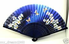 Chinese Blue Butterfly Flower Bamboo Silk Folding HAND FAN Wedding Party Gift