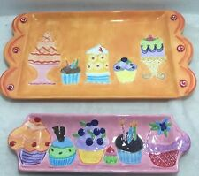 Hand Painted Ceramic Trays Dantes Diesigns Maret Hensick Desserts Cupcakes New
