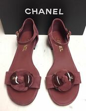 Chanel 16A Camellia CC Logo Burgundy Suede Open Toe Heels Sandals Shoes 41