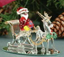 Glass santa and reindeer sleigh