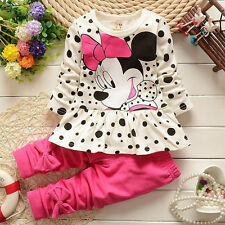 2Pcs Baby Girls Minnie Mouse Bow Mini Dress Pants Cratoon Jumper Top Outfits Set