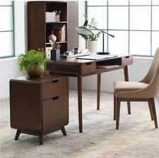 Writing Desk for Small Spaces with Drawers Secretary Home Office Wooden Modern