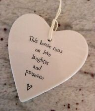 East Of India Hanging Porcelain Heart Home Runs on Love Laughter Prosecco Gift