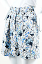 Bottega Veneta NWT $830 White Blue Black Floral Print High Waisted Shorts SZ 40
