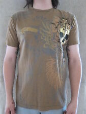 BRAD BUTTER Mens BB-1069 Skull Brown & Gold Foil 100% Cotton T Shirt MEDIUM NWT