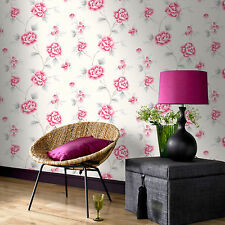 Fresco Great Value Chinese Blossom Floral Red/Grey Wallpaper 51-069