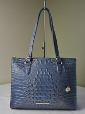Brahmin Satellite Blue Croco Embossed Anywhere Tote