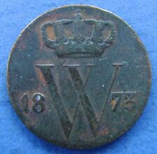 Nederland - The Netherlands 1873 halve cent, 1/2 cent, Willem 3. KM# 90.