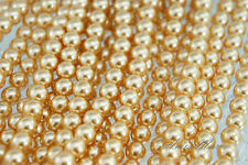 100PCS 8mm Glass Pearl Beads Champagne Color Round DIY Imitation Pearl beads