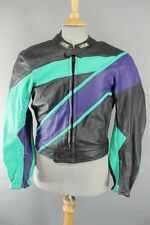 IXS BLACK, GREEN & BLUE LEATHER BIKER JACKET WITH REMOVABLE BACK PROTECTOR 40 IN