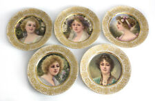 5 Royal Vienna Style Hand Painted Porcelain Cabinet Plates c1910 Signed F Tenner