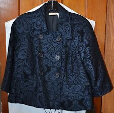 DKNY Suit Jacket/ SZ/SM /Navy and Black Paisley Brocade fabric/Great condition