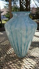 ITALIAN BLUE AND WHITE MURANO VASE WITH TRAPPED AIR BUBBLES (RETICELLO)