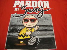 Pardon My Swag Funny Humor Charlie Brown Peanuts Apparel Red T Shirt M