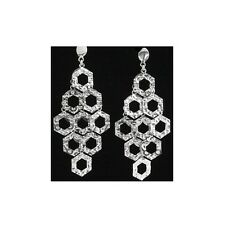 66mm Silver Dangling Fancy Earrings With Push Back Backing #PVE80