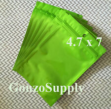 "100PC 4.7x7"" Solid Metallic Lime Green Ziplock Mylar Bags-Food Storage Products"