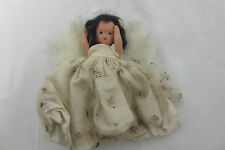 Antique Small Doll Feather Angel Wings Plaster Plastic Tulle Dress