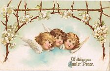 Nister Easter Postcard~Three Angels~Branch Of Dogwood Blossoms~Unsign Clapsaddle