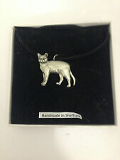 Burmese Cat PP-C04 Pewter Pendant on a  BLACK CORD  Necklace