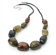 Brown Chunky Beads Stones Necklace on cord