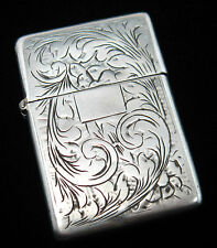 Vintage ZIPPO 2032695 (16 Hole 5 Barrel) Lighter 800 SILVER Ornate ENGRAVED Case
