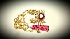 BETSEY JOHNSON MOVABLE CRYSTAL ENCRUSTED CRAB PENDANT GOLD TONE
