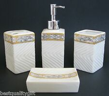 NEW 4 PC SET WHITE+ORANGE CERAMIC SOAP DISPENSER+DISH+TUMBLER+TOOTHBRUSH+BOX