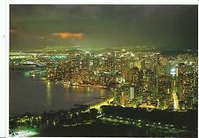 Hawaii Postcard - Aloha - Waikiki at Night - Top of Diamond Head Crater AB1274