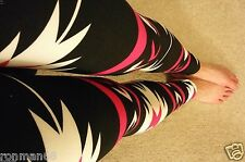 Tribal Aztec Print Leggings Womens Regular One Size Pants Black White Pink