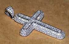 White Gold Over Sterling Silver CZ Cross Iced Out Charm Pendant Necklace