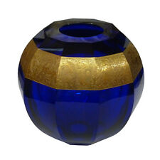 Large Moser Czech Cobalt Blue Crystal Faceted Vase