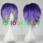 Short Purple Mixed Grey Layered Style Anime Cosplay Hair Full Wig + Free Wig Cap