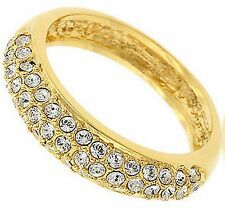 Womens Ladies Classic Bridal Prom Blitz Gold Plated Band Glam Clear CZ Ring