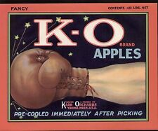 OLD KARR ORCHARDS (YAKIMA) APPLE LABEL:BOXING GLOVE & KNOCK OUT PUNCH: K-O BRAND