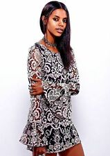 New Women's Free People Saga Dress Size 2 XS Grey Embroidered Black Mesh Mini
