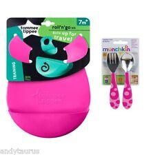 Tommee Tippee Roll & Go Babero + juego Munchkin Cubiertos Set libre de BPA 7 meses +