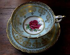 Vintage PARAGON Cup + Saucer Gold Red Cabbage Rose Mint Green Hand Painted