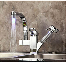 Polished Chrome LED Spout Kitchen Faucet Pull Out Vessel Sink Mixer Tap Swivel