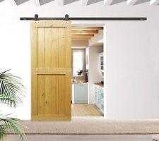 6 FT Antique Sliding Door Hardware Black Steel Kit Wood Barn Door Track Set
