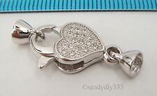 1x Rhodium plated STERLING SILVER HEART CZ BEADING CORD END CAP CLASP #2365