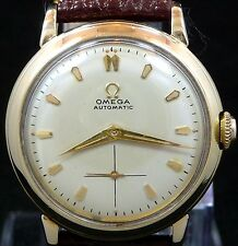 RARE ORIGINAL VINTAGE FANCY 1952 OMEGA BUMPER AUTOMATIC GOLD WATCH SERVICE 344