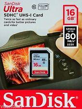 Sandisk Ultra 16GB SD SDHC 80MB/S class10 16GB SD SDHC Speicherkarte NEU&OVP
