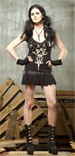 NEW Lip Service Desert Exile Wasteland Mini Dress Black/Bone Gothic Goth XS